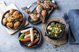 Tapasboller, chorizopølse, kyllingklubber og portebellosopp fra Eurest Konferanse & Selskaps menyer