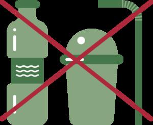 Illustrasjon av en plastvannflaske, take-away kopp og sugerør med ett kryss over